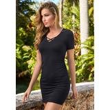 V-Neck T-Shirt Dress Dresses - Black
