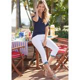 Star Cuff Capri Jeans Pants - White