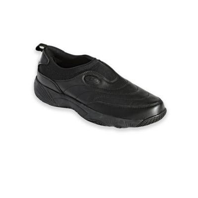 Men's Propet® Wash & Wear Leather and Suede Slip-Ons, Black 9 Extra Wide