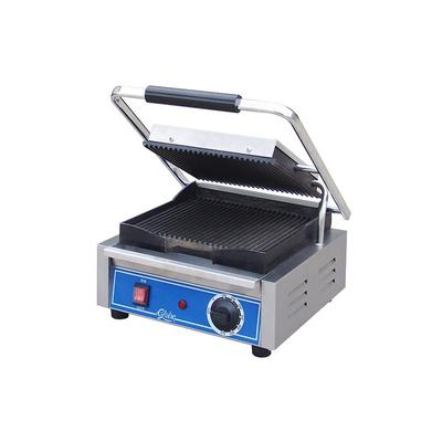 GLOBE GPG10 10 Single Sandwich Grill with Grooved Plates Stainless Steel