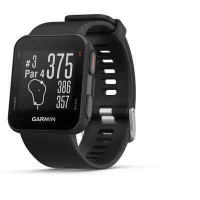 Black GPS Golf Watch yardage to front, middle, and back of greens,measures shot distance,digital scorecard with handicap scoring and stat tracker