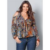 Plus Size Cold Shoulder Paisley TOP Tops - Orange/multi