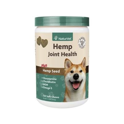 NaturVet Hemp Joint Health Plus Hemp Seed Soft Chews Dog Supplement, 120 count