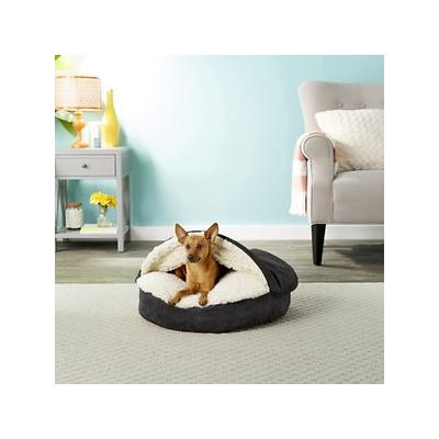 Snoozer Pet Products Luxury Microsuede Cozy Cave Dog & Cat Bed, Black, Small