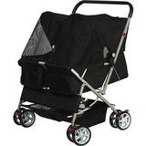 Paws & Pals - Paws & Pals Twin Double Folding Dog & Cat Stroller, Black
