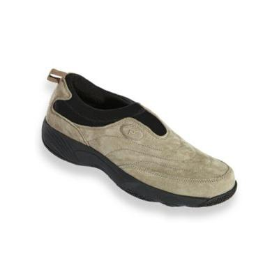 Men's Propet® Wash & Wear Leather and Suede Slip-Ons, Gunsmoke Grey 8.5 M Medium