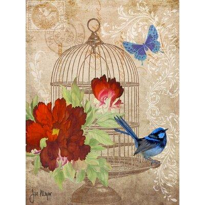 Buy Art For Lessbuy Art For Less Global Chic Vintage Birdcage W Blue Bird Postcard Framed Graphic Art Print On Wrapped Canvas Canvas Fabric In Red Brown Blue Dailymail