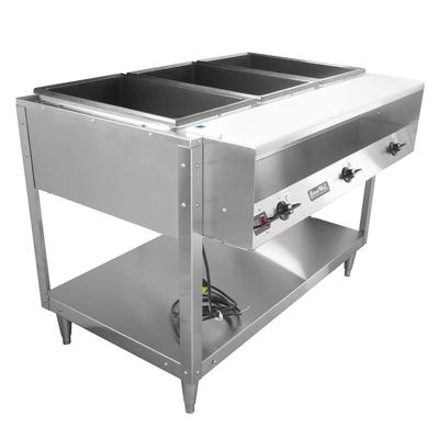 Vollrath 38003 3 Well Hot Food Table - Thermostat, Plate Rest, Cutting Board, 120v on Sale