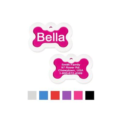 GoTags Personalized Anodized Aluminum ID Tag with Silencer, Bone, Pink, Regular