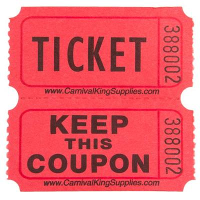 Carnival King Red 2-Part Raffle Tickets - 2000/Roll