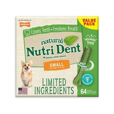 Nylabone Nutri Dent Limited Ingredients Fresh Breath Natural Dental Dog Chew Treats, Small, 64 count