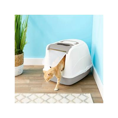 Frisco Flip Top Hooded Cat Litter Box, Gray, Large, 22-in