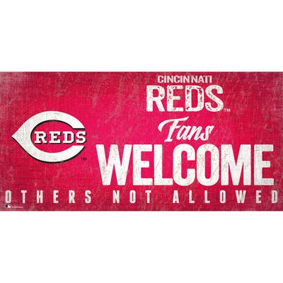 """Cincinnati Reds 8'' x 10.5'' Fans Welcome Sign"""