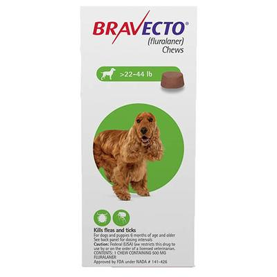 Bravecto for Medium Dogs 22 to 44lbs (Green) 2 Chew