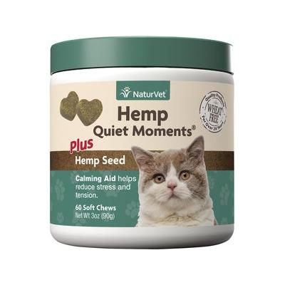 NaturVet Hemp Quiet Moments Plus Hemp Seed Cat Soft Chews, 60 count