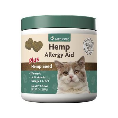 NaturVet Hemp Allergy Aid Plus Hemp Seed Cat Soft Chews, 60 count