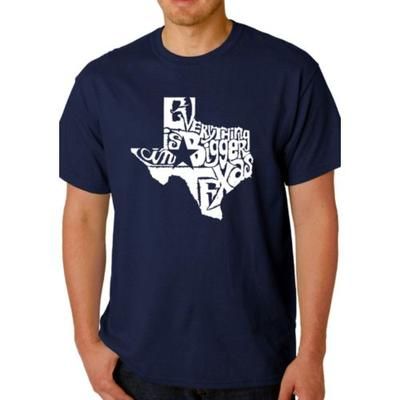 LA Pop Art Navy Word Art T Shirt - Everything is Bigger in Texas